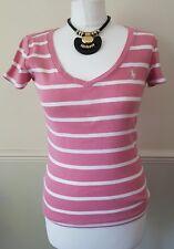 Ralph Lauren Sport Ladies Pink Stripe 100% Cotton Summer Top Size S UK 8-10