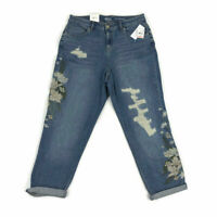 Style & Co Womens Boyfriend Jeans Distressed Floral Embroidered Plus Sizes