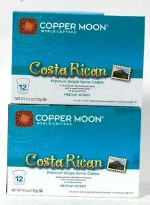 2 Boxes Copper Moon 4.2 Oz Costa Rican Medium Roast 12 Cups Single Serve Coffee