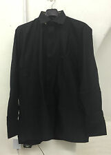 MENS LONG SLEEVED BUTTONED BLACK SMART SHIRT BUSINESS OFFICE CASUAL SIZE 14-20