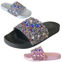 NEW Women's Colorful Rhinestone Slide Sandals Slip On Flops Shoe Size 6 7