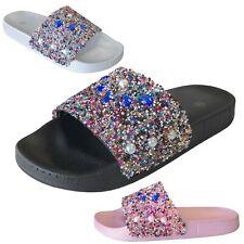 aaf9b2b61 NEW Women s Colorful Rhinestone Slide Sandals Slip On Flops Shoe Size 5 to  10