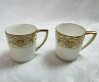 Vintage Nippon Hand Painted Raised Gold Tea Cups Chocolate Coffee Cups 2 piece