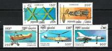 Avions Cambodge (48) série complète de 5 timbres oblitérés