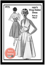 1950s Wrap Halter Dress Sewing Pattern - Rockabilly  Pin Up