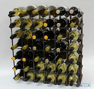 Cranville wine rack storage 42 bottle dark oak stain wood and metal assembled
