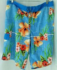 OP RN52469 Mens Polyester Blue Combo Hawaiian Floral Swim Trunk Netted Lining XL