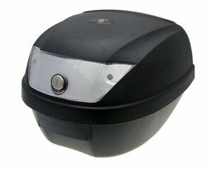 Top Case Koffer schwarz 28L Reflektor weiß Mofa Roller Moped Motorrad  Quad ATV