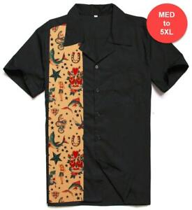 Vintage Style Bowling Dress Shirt - Old School Tattoo Flash M-5XL