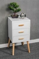 3 DRAWER WHITE BEDSIDE TABLE WOODEN LEGS SCANDINAVIAN CHEST RETRO BEDROOM UNIT