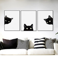 3 pzas Moderno Gato Negro Lienzo Pared Pintura Arte Del Cartel Decoración Hogar