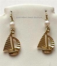 Gold Pearl Sailboat Earrings Pierced Nautical Island Sail Boat White Plated USA