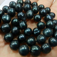 New Natural Beautiful New 8mm Tahitian Black Natural Pearl Necklace 16""