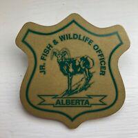 JR. FISH & WILDLIFE OFFICER, Alberta, Canada  Pinback Button, Lapel Pin, Warden