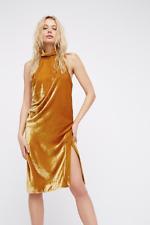 NEW Free People Gold Velvet Tongue Tied Midi Dress High Neck Halter $350 Sz 0
