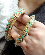 Indian Traditional Ethnic Bollywood Style kada Bracelet With Blue Stone  Jewelry