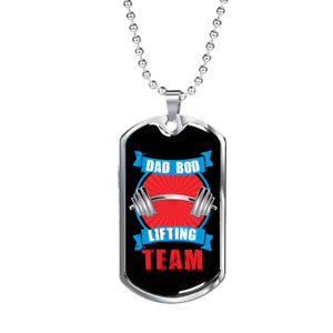"""Dad Bod Lifting Team Dog Tag Stainless Steel or 18k Gold w 24"""" Chain"""