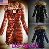 Women Quilted Parka Coat Fur Collar Hooded Ladies Padded Winter Warm Long Jacket