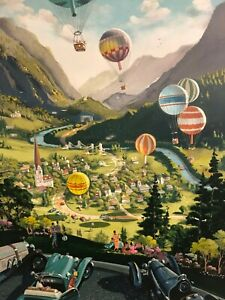 """Michael Young """"Up Up and Away"""" Rare Art Hand Signed Limited Hot Air Balloon"""
