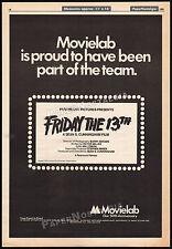 FRIDAY THE 13th -- MOVIELAB__Original 1980 Trade AD promo / poster__JASON_horror