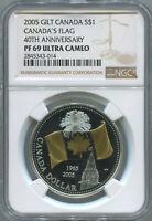 2005 CANADA $1 - GOLD GILT CANADA'S FLAG 40TH ANNIV - NGC PF69 UC SILVER COIN