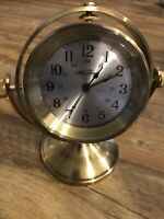 BEAUTIFUL SETH THOMAS NAUTICAL SOLID BRASS & GLASS MANTLE / DESK CLOCK