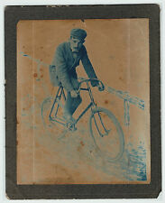 UNUSUAL Advertising? Cyanotype Photo - Man on Bicycle ca 1890s - Glenn Curtiss ?