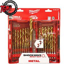 Milwaukee 48894761 29 Piece Red Hex Titanium Shockwave Drill Bit Set 48-89-4761