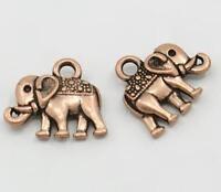 10 TIBETAN STYLE ELEPHANT CHARMS PENDANTS COPPER RED 14mm X 12mm C77