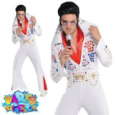 Mens King of Vegas Costume Elvis Jumpsuit 70s Adult Celebrity Fancy Dress Outfit