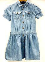 POLO Ralph Lauren Girls Dress Size 10 Blue Denim Eagle Buttons Short Sleeve