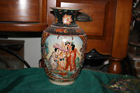 Japanese Moriage Satsuma Beaded Vase Flowers 3 Women Large Colorful Vase