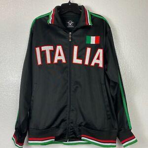 Italia Italy Ghast Full Zip Mens Track Jacket Size Large Black Stripes
