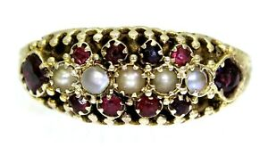 Victorian Pearl & Garnet Cluster 15ct Yellow Gold Band Ring size  O ~ 7 1/4