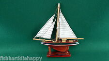 NAUTICAL DECOR VINTAGE 9 INCH WOOD SAILBOAT CANVAS SAILS ON STAND NEW IN BOX