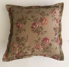 "PAIR**RALPH LAUREN FLANGE ACCENT PILLOWS W/ INSERT~FLORALS~18"" x 18""~TAN +MULTI"