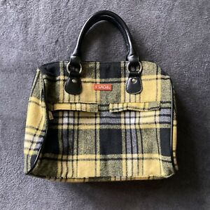 Sachi Insulated Lunch Bag Tote Plaid Black And Yellow