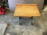 Collectible Antique Child's School Desk Oak Wood & Black Cast Iron