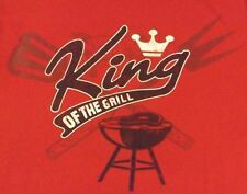"""VINTAGE XL RED """"KING OF THE GRILL"""" 100% COTTON GRAPHIC TEE SHIRT"""
