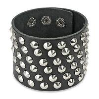 Black Leather 50mm Wide Gothic Punk Bracelet with 60 Small Steel Cone Studs