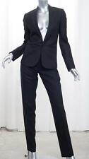 CHRISTIAN DIOR Womens Black Wool Single-Button Jacket Blazer Pant Suit 40/US 6