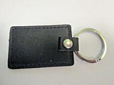 Black Leather  Keyring/Key Fob Rectangle- 60 x 40mm -Good QualityStrong -  LK01