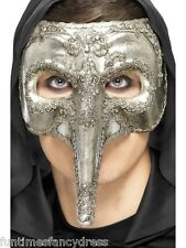 Halloween Mens Silver Deluxe Plague Doctor Venetian Mask Masked Ball Masquerade