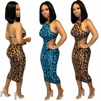 Women Spaghetti Strap Backless Bandage Bodycon Leopard Club Party Midi Dress