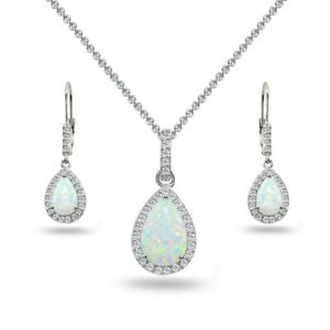 Teardrop Simulated White Opal & Topaz Necklace & Leverback Earrings in Silver