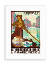 TONKIN VIETNAM INDOCINA fiume barca FRANCIA POSTER viaggio tela art prints