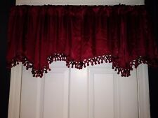 Tex Style Formal Valances One Pair in Wine Beautiful Trim Gently Scalloped-