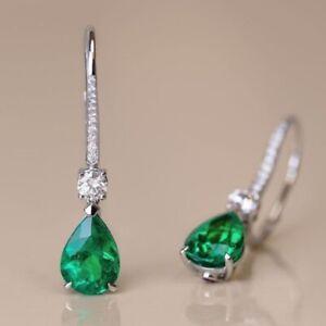 4Ct Pear Cut Diamond Green Emerald Drop & Dangle Earrings 14K White Gold Finish
