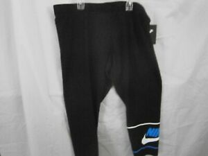"Nike Women's Sz XXL-Black W/Blue""Nike""White Emblem-Tight Fit/Crop Lngth-NWT-L@@K"