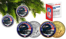 BALTIMORE RAVENS Christmas Tree Ornaments JFK Half Dollar US 2-Coin Set NFL